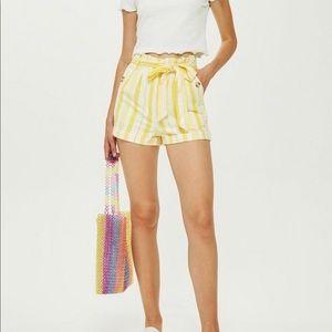 Topshop stripe waist paper bag shorts white-Yellow